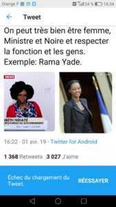 D3J VtjXgAA4j96 169x300 Nomination de Sibeth Ndiaye: Des français expriment leur colère sur la toile