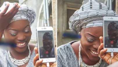 Insolite: Une Nigériane épouse son fiancé basé aux États-Unis via un appel vidéo